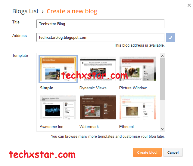 create blogger blog